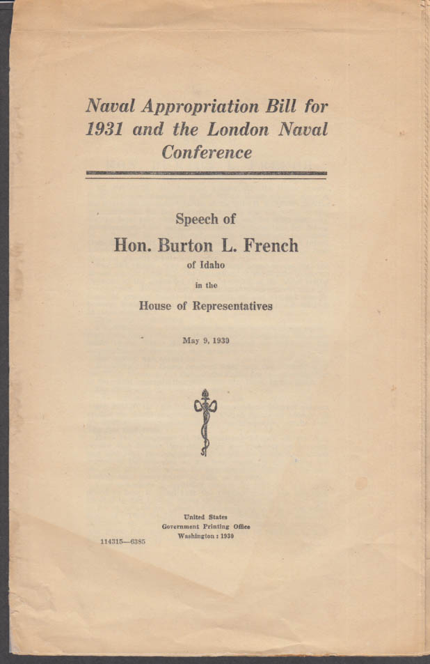 Burton L French R-ID: Naval Appropriation 1931 / London Naval Conference Speech