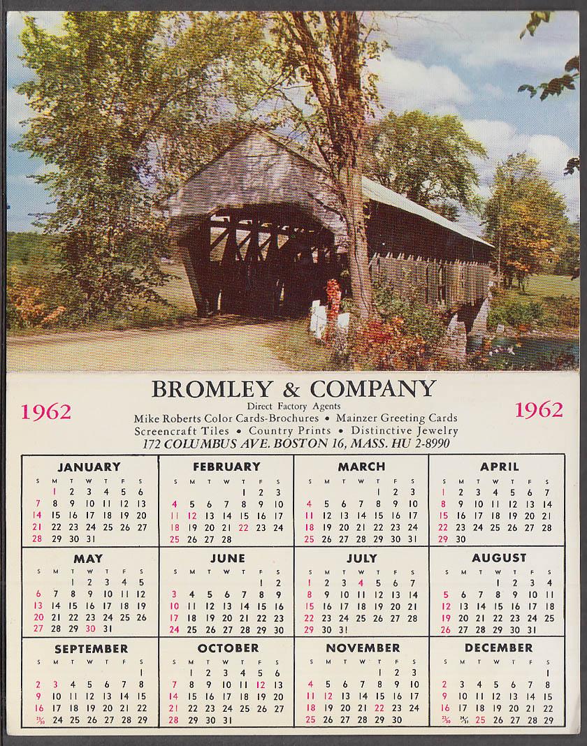 Bromley & Company 1962 Covered Bridge Calendar card 1962