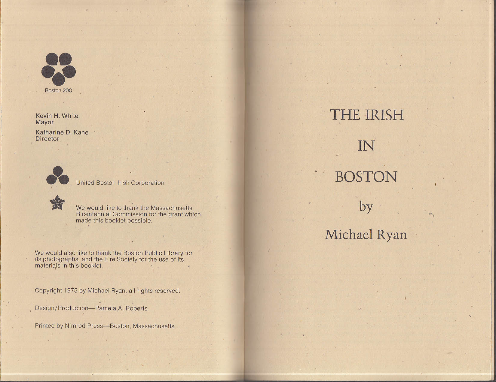Michael Ryan: The Irish in Boston historical monograph 1975