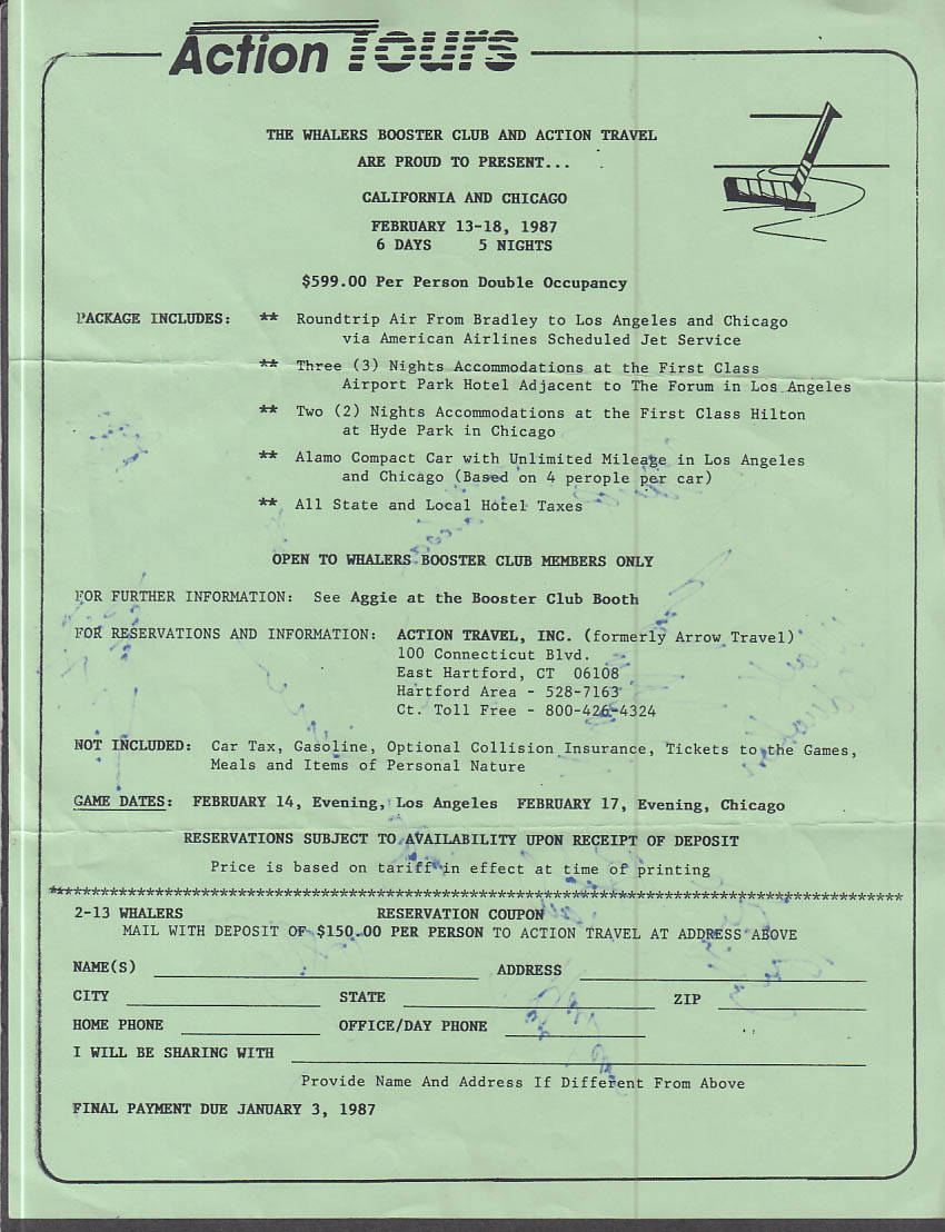 1987 Hartford Whalers Booster Club sheet w/ 11 player AUTOGRAPHS