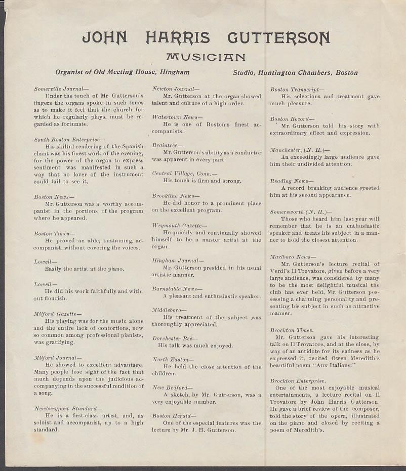 Organist John Harris Gutterson lecture circular Boston MA ca 1890s