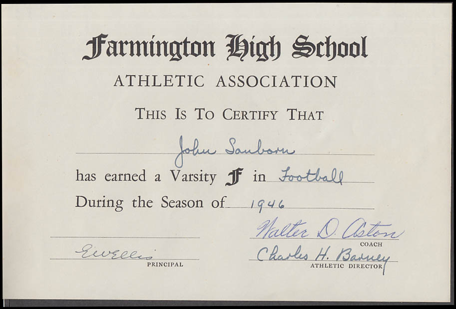 Farmington High School Varsity Letter Award football 1946