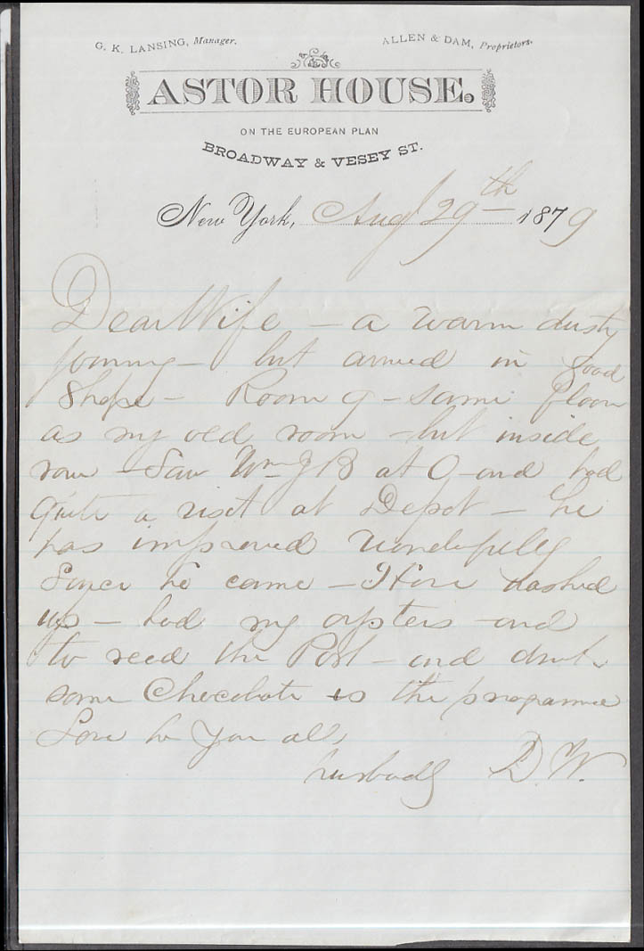 Astor House hotel NYC letter to wife 8/29 1879