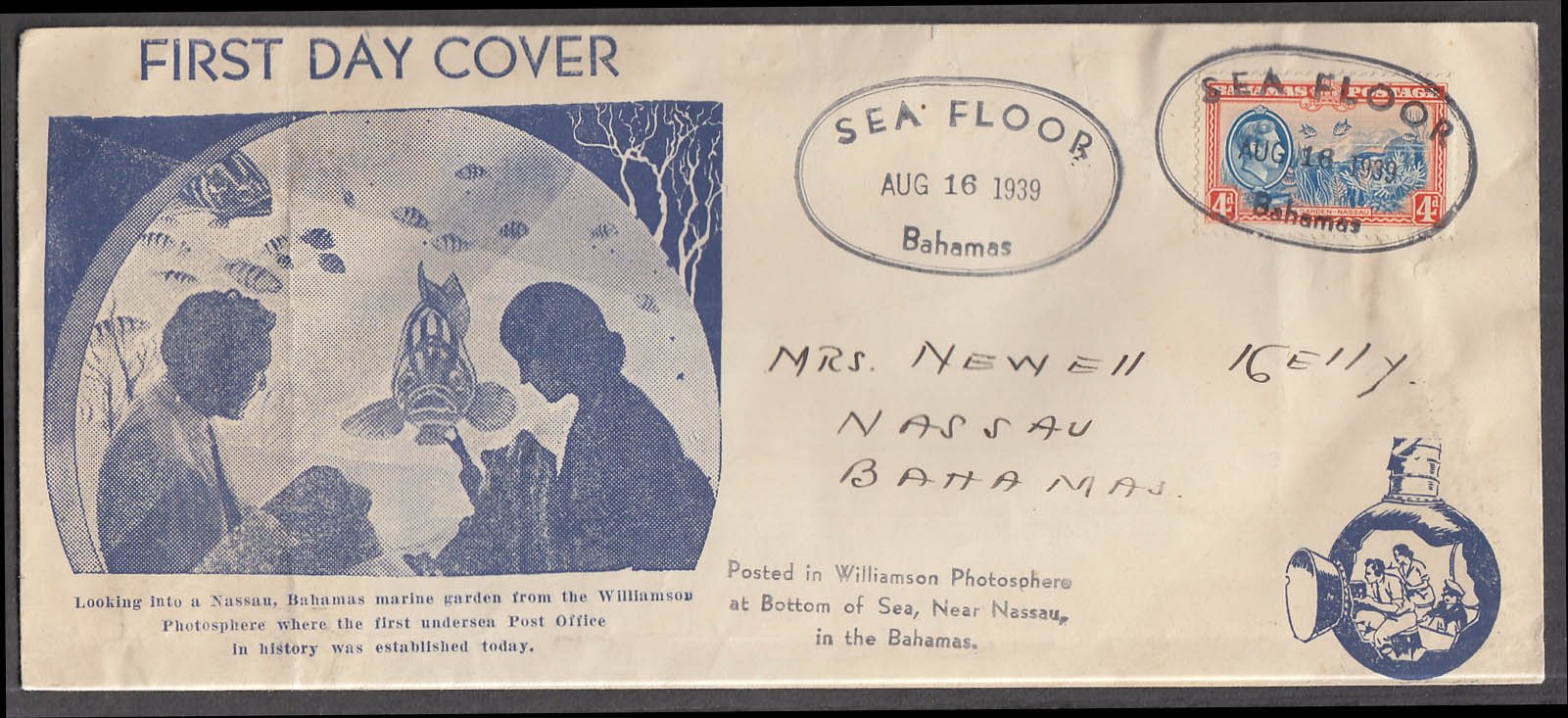 Williamson Photosphere Sea Floor Bahamas postal cachet FDC 8/16 1939