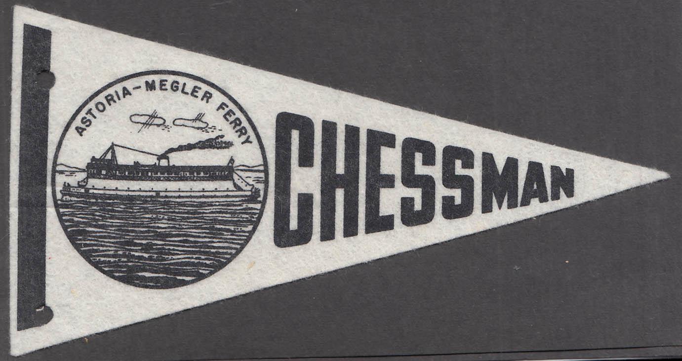 Astoria-Megler Ferry Chessman Washington souvenir felt pennant 1960s