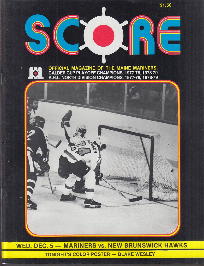 SCORE Maine Mariners Magazine Program vs New Brunswick Hawks AHL Hockey 1979