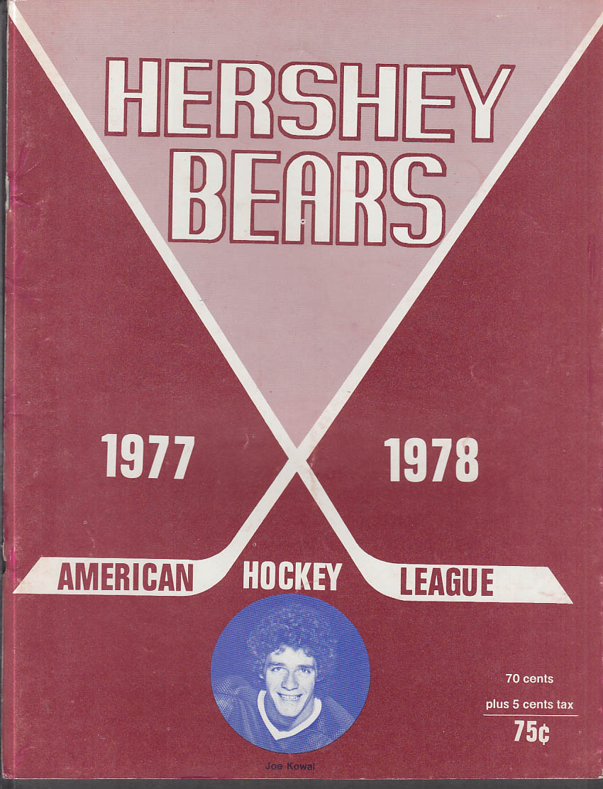 Binghamton Dusters at Hershey Bears AHL Hockey Program 11/26 1977