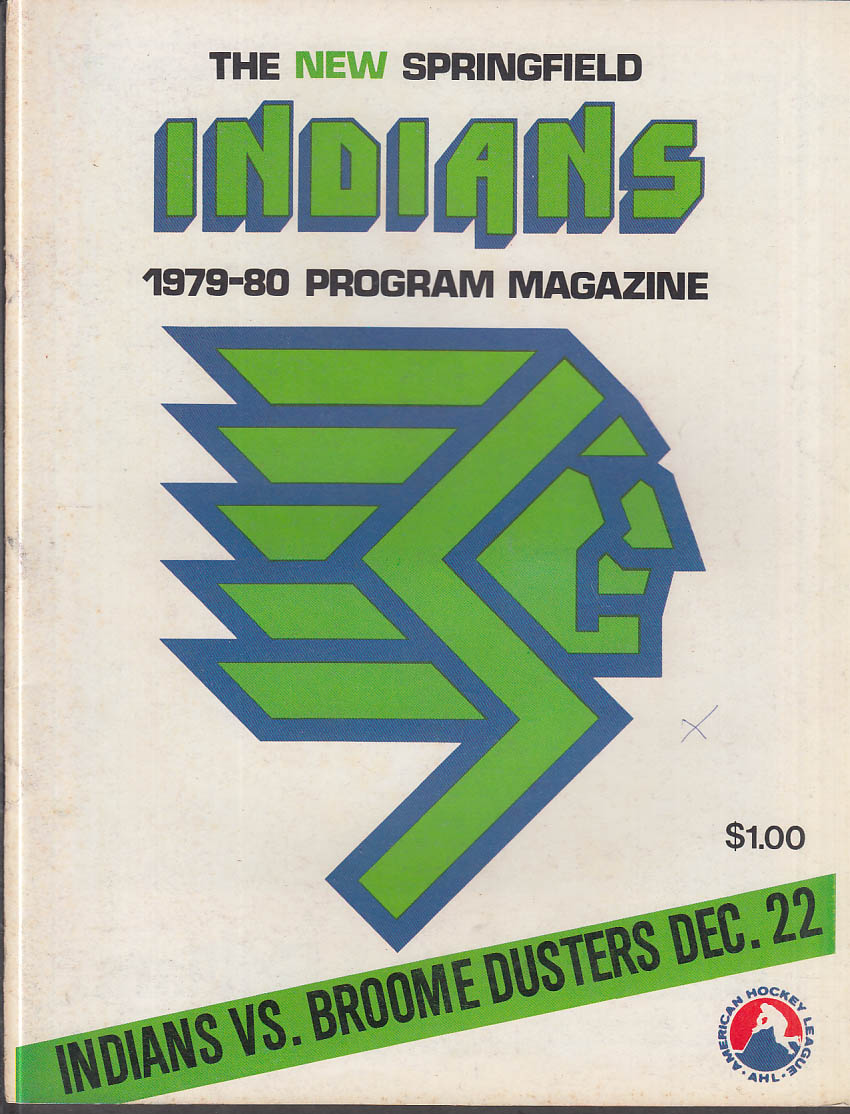 Binghamton Dusters at Springfield Indians AHL Program 1977-80 SIGNED Ken Hodge