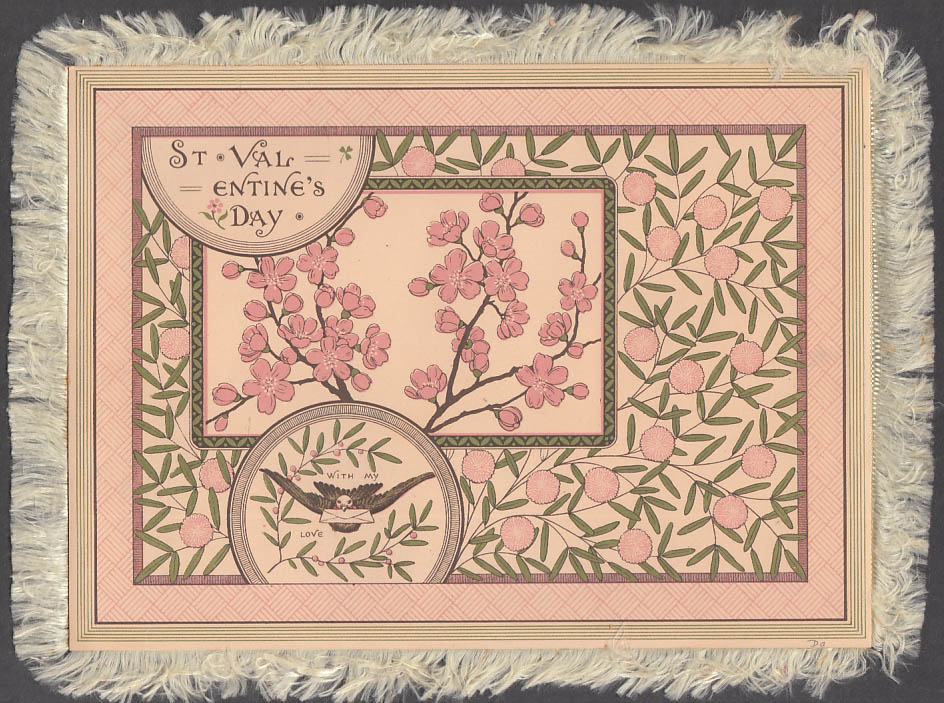 Image for Plucking Sweet Flowers fringed Valentine card ca 1890s