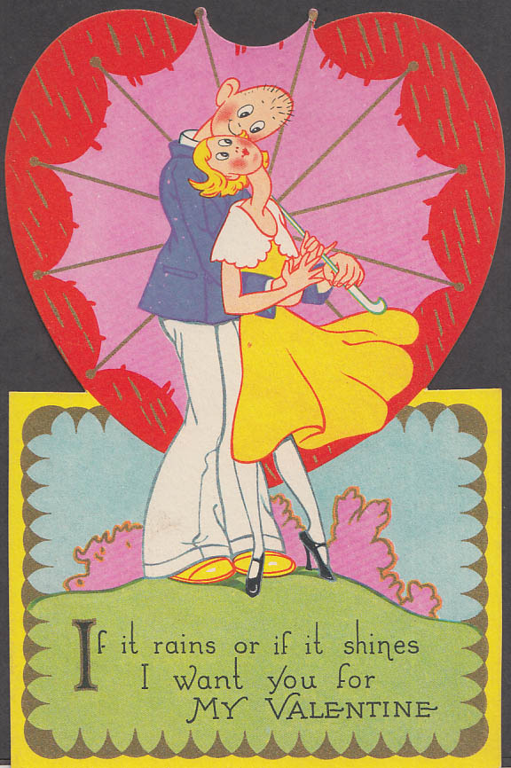 Image for If it rains or if it shines I want you for my Valentine card ca 1930s Carrington