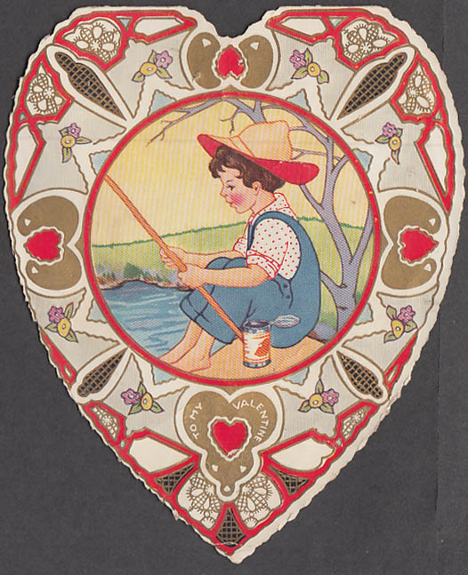 Image for I'm awfully brave about some things Valentine card boy fishing ca 1920s