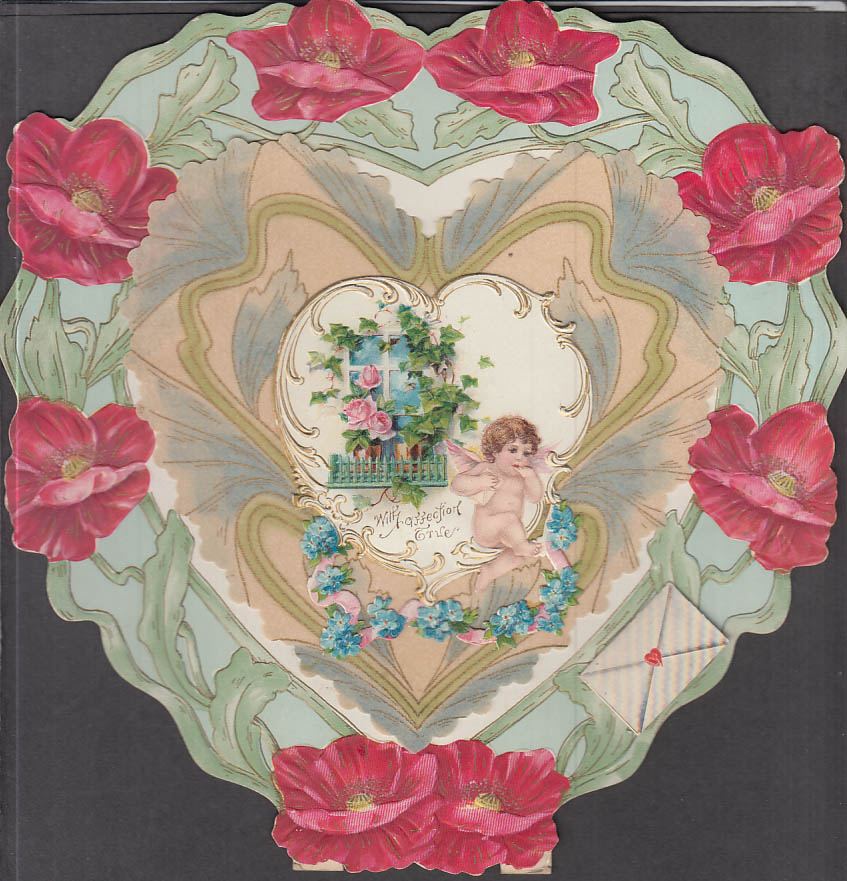 Image for With Affection True cherub embossed easel-back Valentine card ca 1900