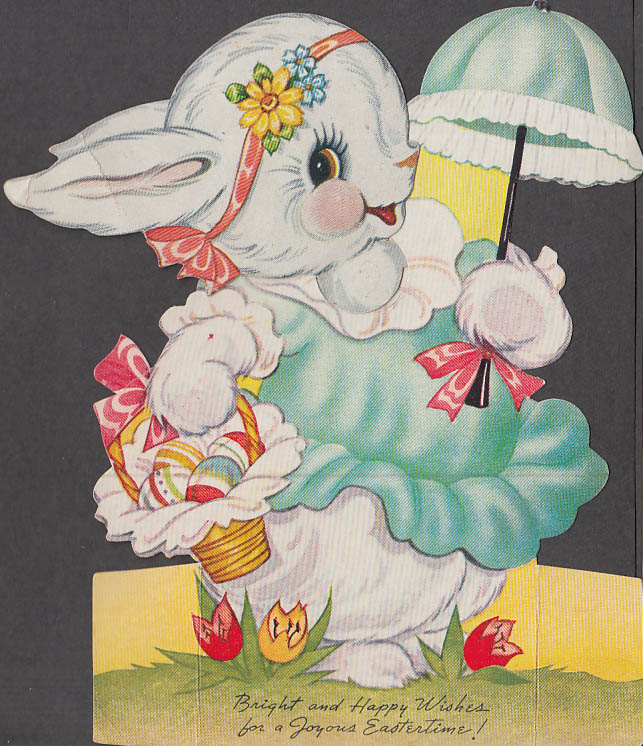 Bright & Happy Wishes mechanical Valentine card Bunny with parasol 1940s