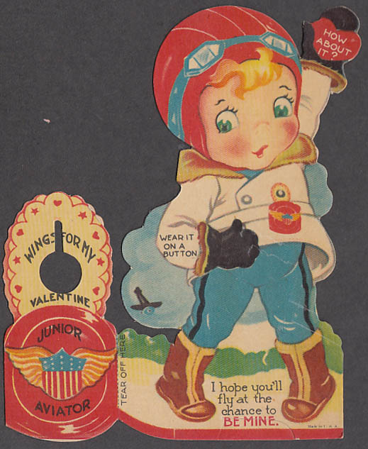 Image for Wings for My Valentine Junior Aviator stand-up card ca 1930s