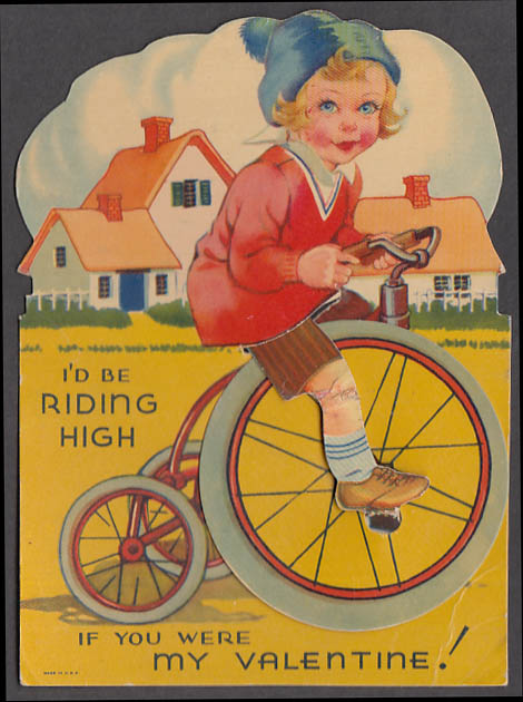 Image for I'd be riding high if you were my Valentine mechanical card tricycle girl 1930s