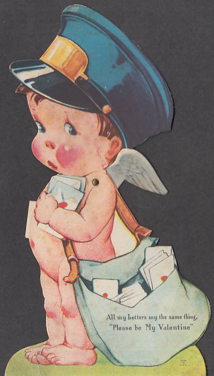 All my letters say the same mechanical Valentine card naked cherub mailman 1930s