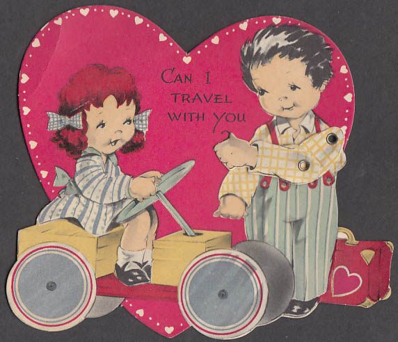 Can I travel with you? animated Valentine boy hitchhiking girl on go-cart 1950s