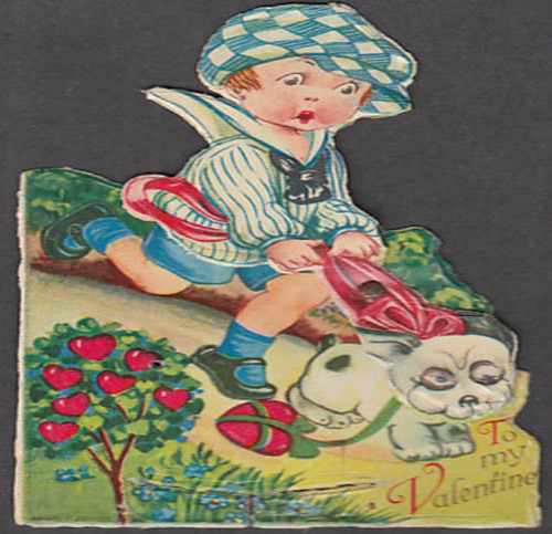 Image for To my Valentine animated card dog pulling boy downhill ca 1920s