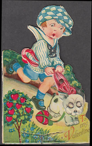 To my Valentine animated card dog pulling boy downhill ca 1920s