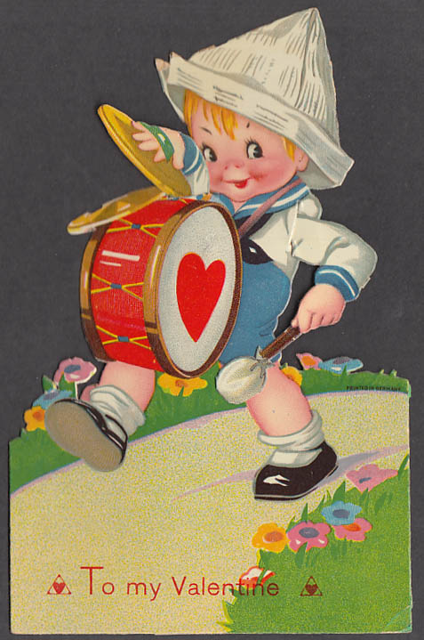 Image for To my Valentine animated stand-up card Boy plays drum & cymbals ca 1930s