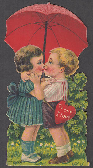 Image for To One I Love easel-back Valentine card boy & girl kiss under umbrella 1920s