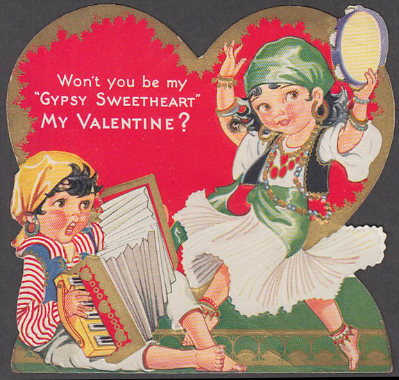 Image for Won't you be my Gypsy Sweetheart My Valentine? Gilt embossed card 1930s