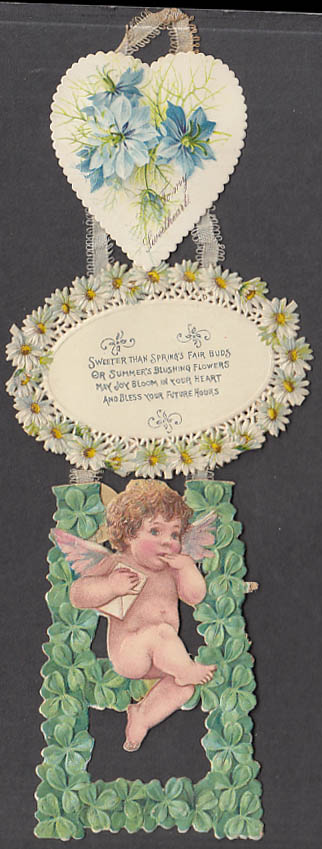 Image for Sweeter than Spring's fair buds Valentine wall hanger card cupid 1910s