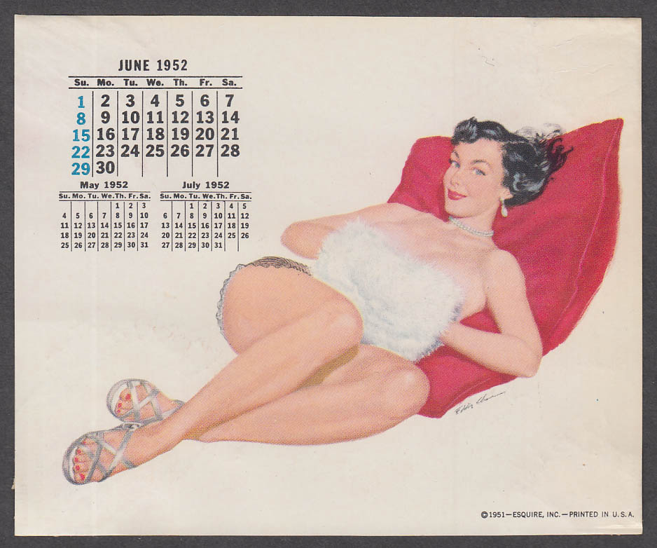 ESQUIRE calendar pin-up 6 1952 Eddie Chan topless brunette white muff red pillow