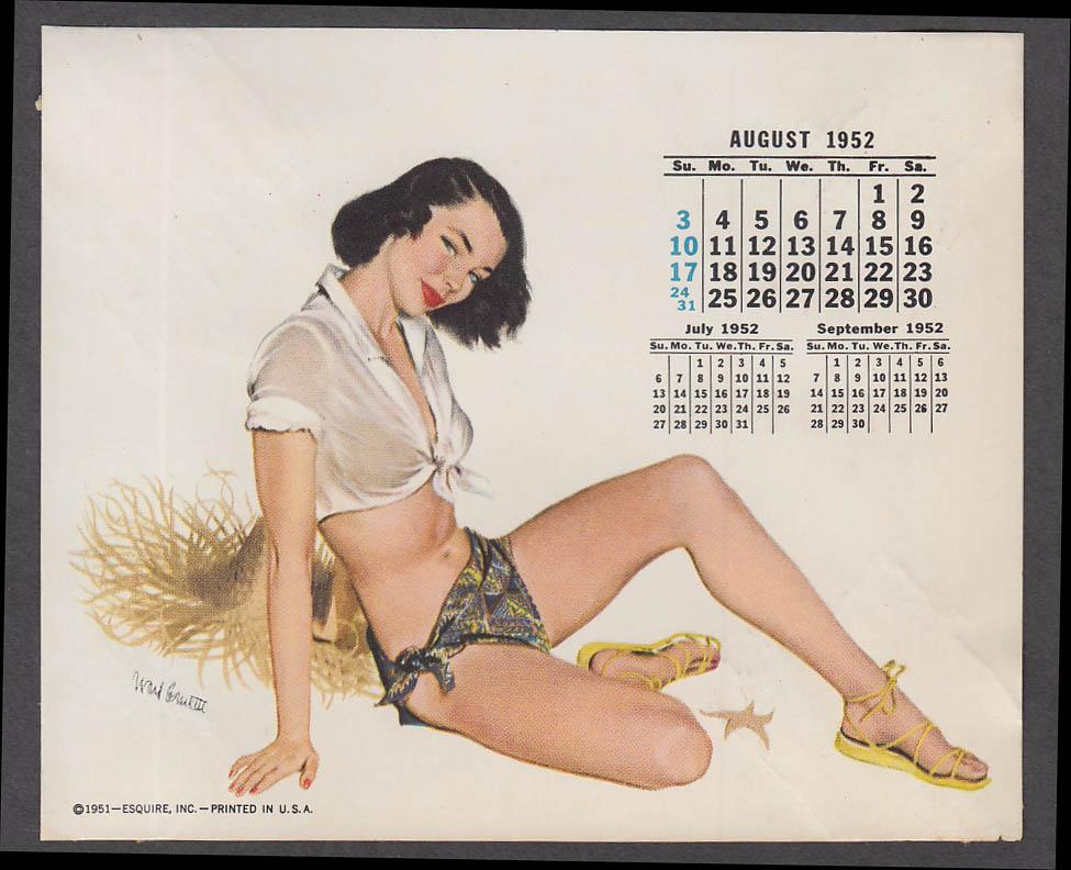 ESQUIRE calendar pin-up 7 1952 Michael Silver topless blonde hat & see-thru slip