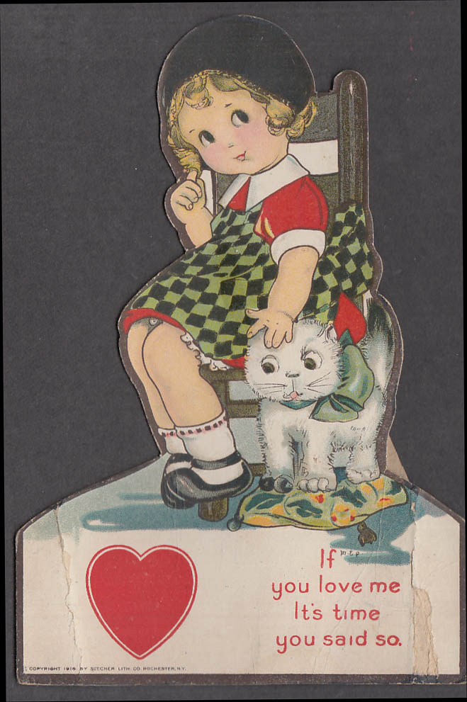 Image for If you love it's time you said so easel-back Valentine seated girl & cat 1930s