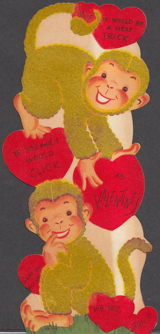 A Neat Trick if You Would Click flocked Monkey-motif Valentine card 1950s