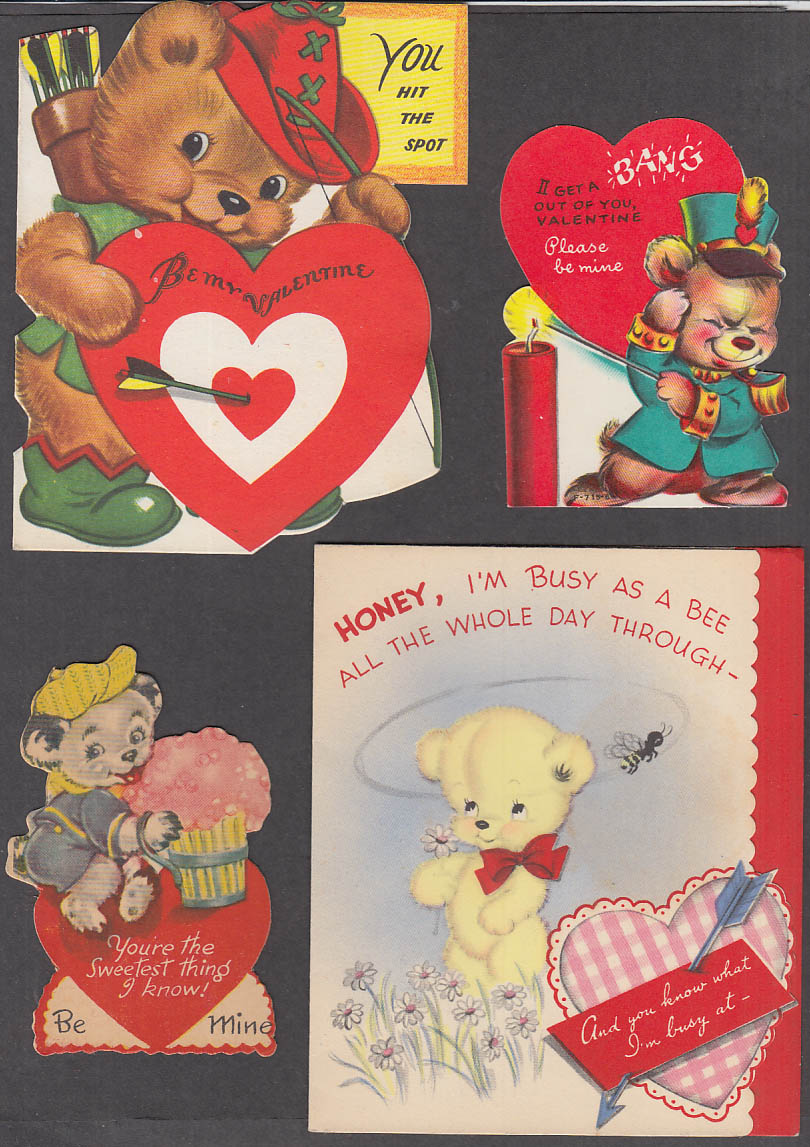 Image for SIX different bear-motif Valentine cards 1950s one flocked