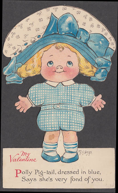 Image for Polly Pig-tail My Valentine card M G Hays artist 1920s