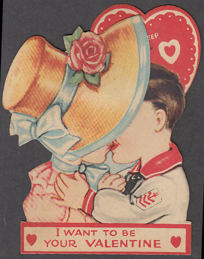 Image for I Want to Be Your Valentine Keep it Under Your Hat mechanical card 1930s