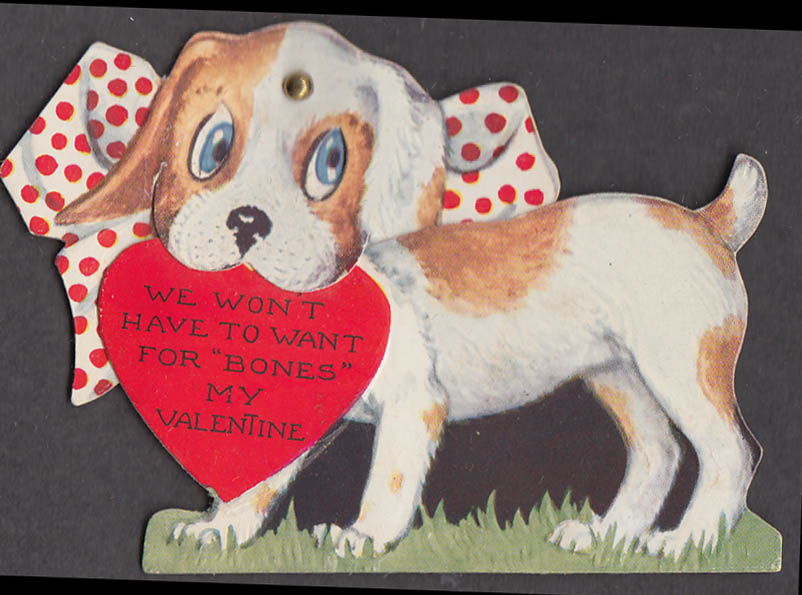 """Image for We won't have to want for """"bones"""" dog Valentine folding card ca 1930s"""