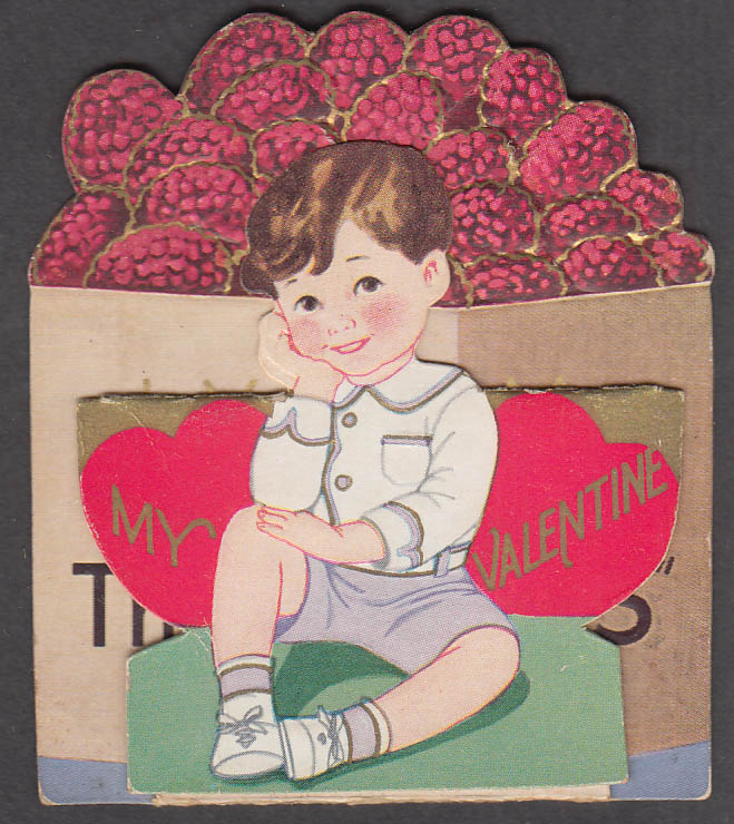 My Valentine I Think You're the Berries embossed folding card ca 1930s