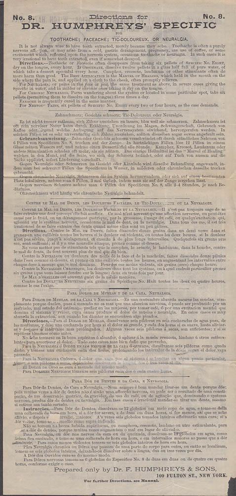 Humphreys' Specifics & Veterinary Specifics remedies flyer price list ca 1890s