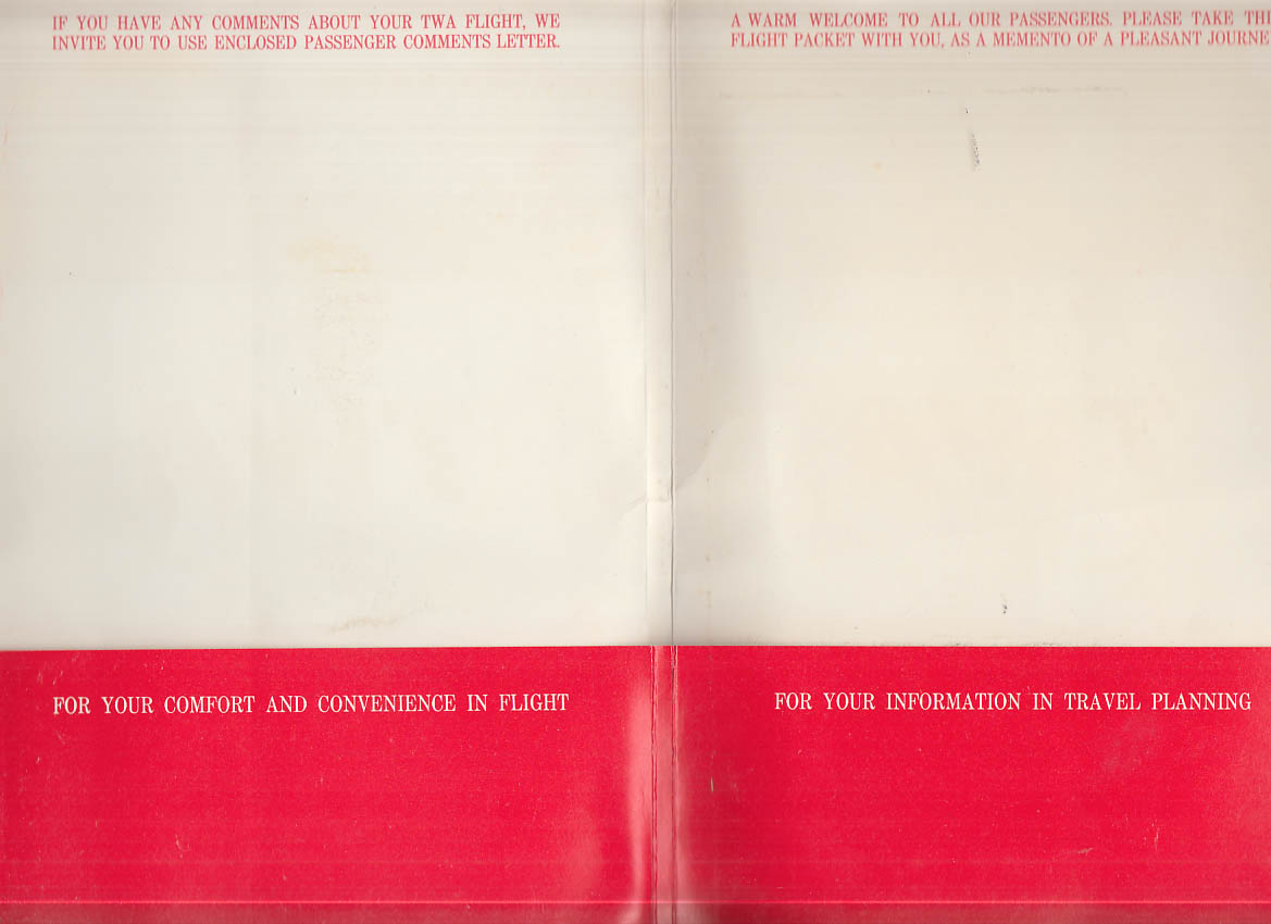 Welcome Aboard TWA Trans World Airlines flight packet 1967 empty