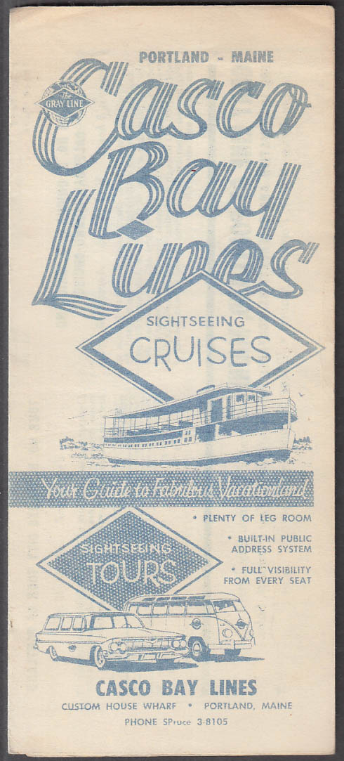 Casco Bay Lines Sightseeing Cruises & Tours folder Portland ME 1961