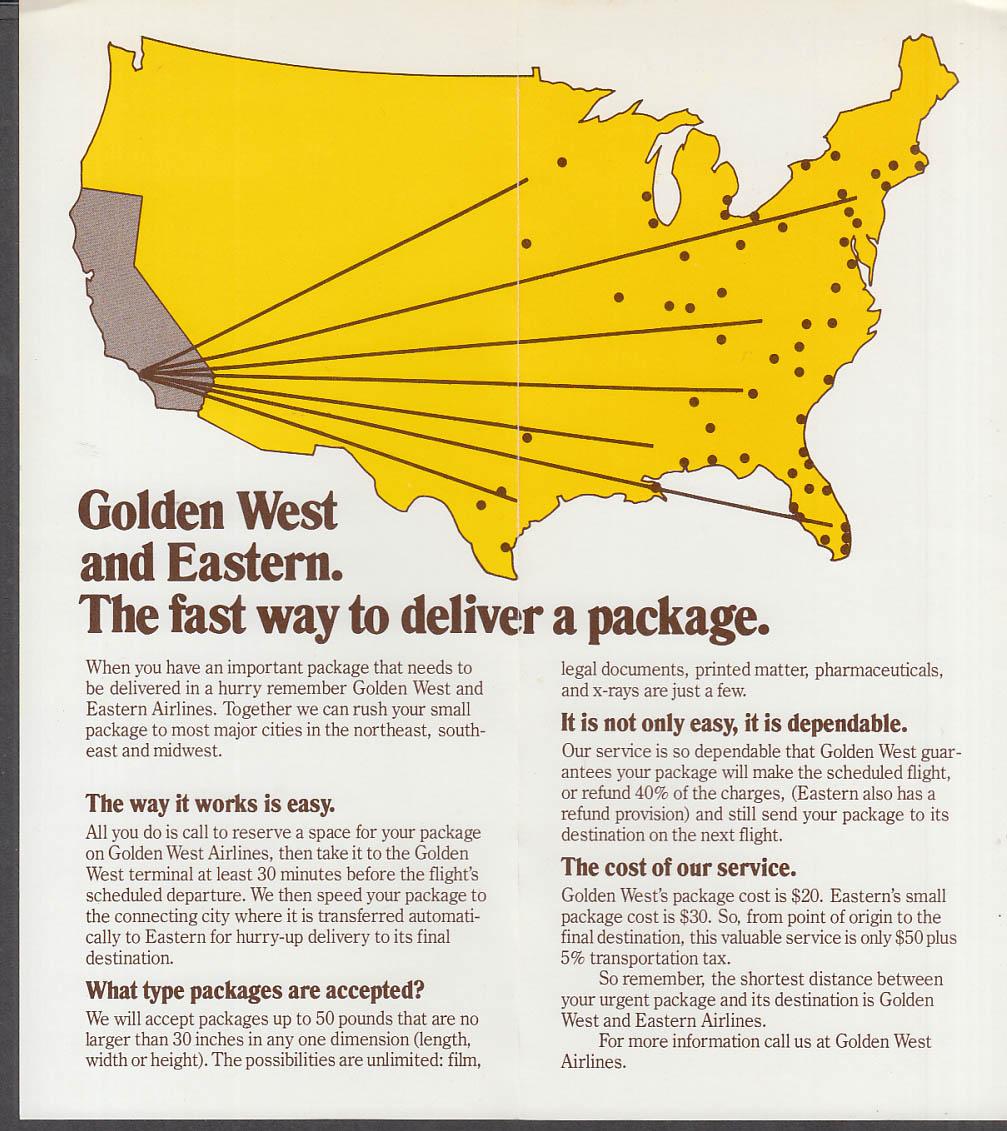 Golden West Airlines Eastern Airlines Urgent Packages folder 1970s