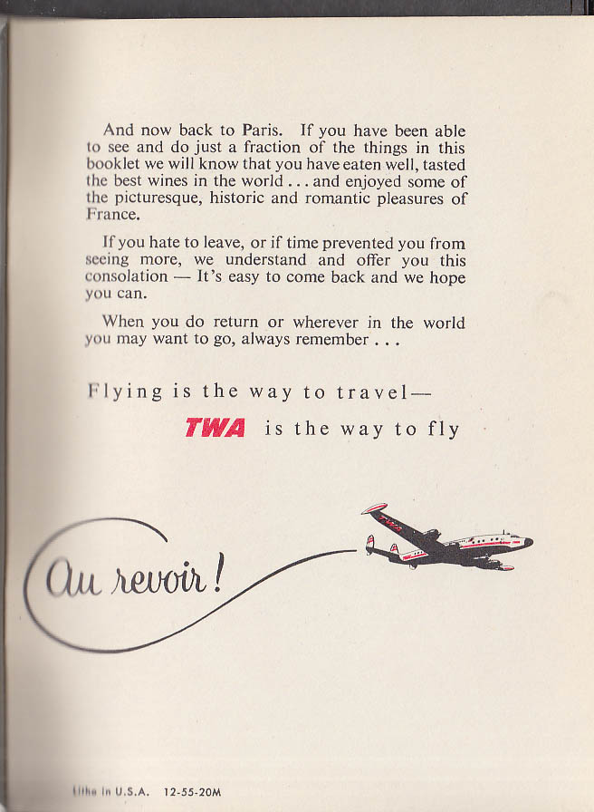 Trans World Airlines TWA Travel Tips France Revised 1956 Edition