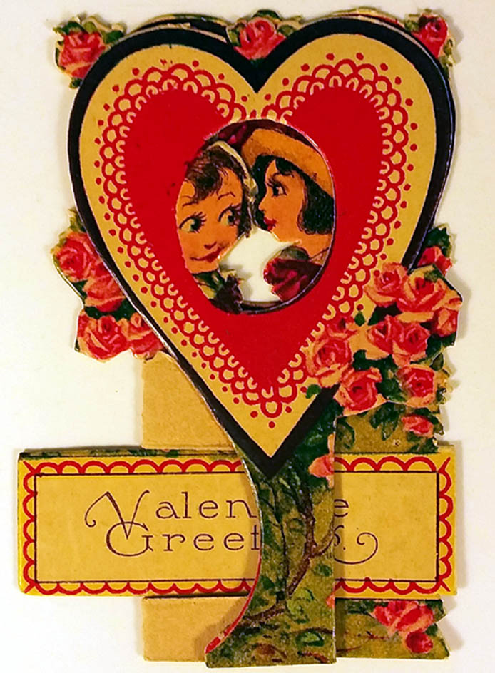 Image for Valentine Greetings stand-up card twin hearts looking at each other 1940s