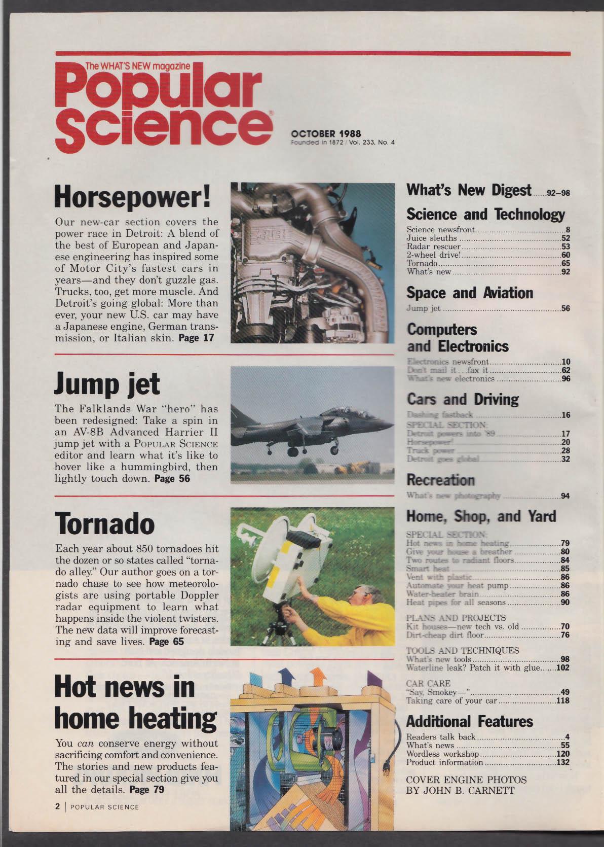 POPULAR SCIENCE Harrier AV-8B Ford vs Chevy V8 Corvette + 10 1988