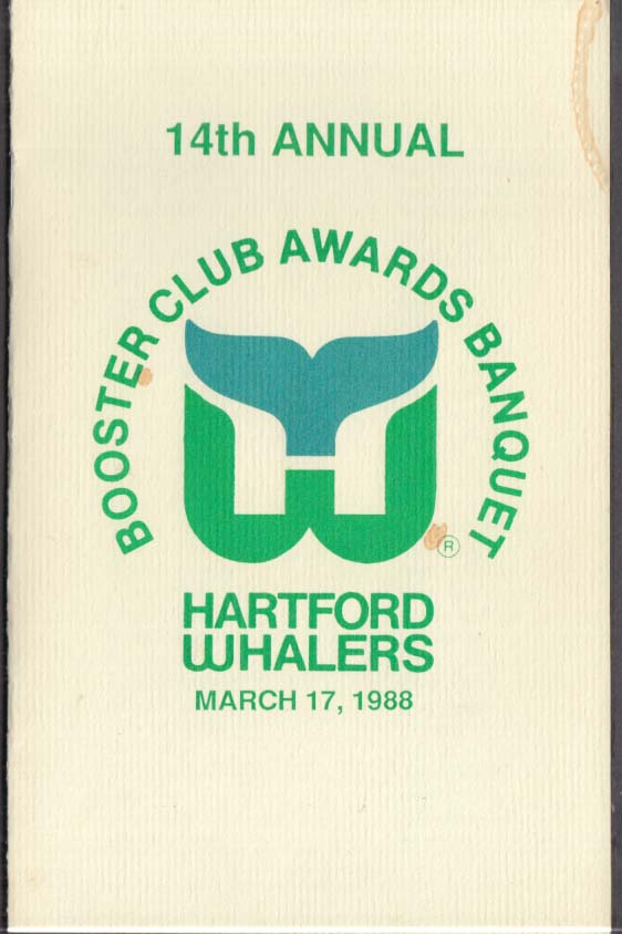 Hartford Whalers Booster Club Awards Banquet program 1988