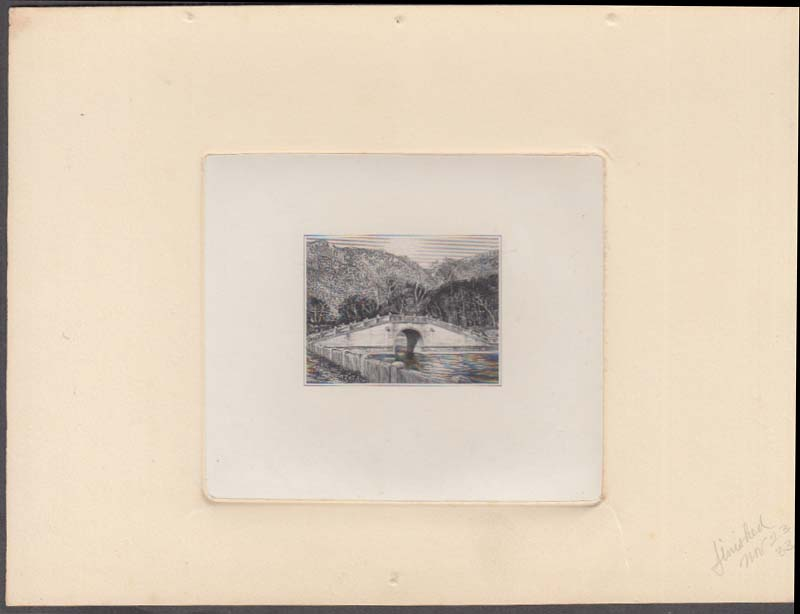 Image for George Lambert engraving of a stone bridge 1933