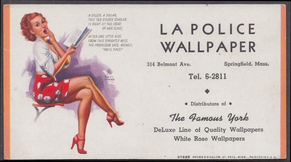 Earl Moran pin-up La Police Wallpaper Springfield MA blotter 1940s