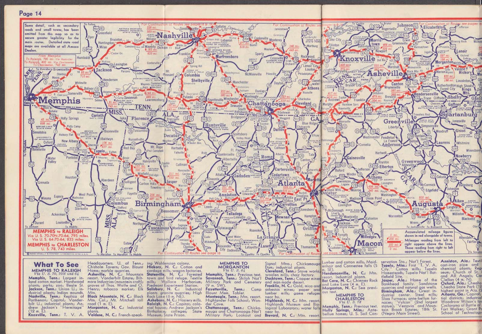 Amoco American Gasoline Streamlined Strip Map East To Middle West 1940