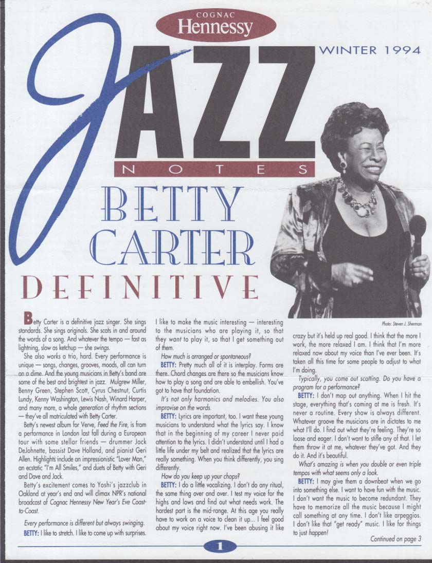 Hennessy Cognac JAZZ NOTES Winter 1994 Betty Carter Illinois Jacquet