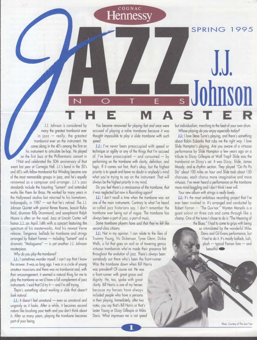 Hennessy Cognac JAZZ NOTES Spring 1995 J J Johnson; Talking Bones
