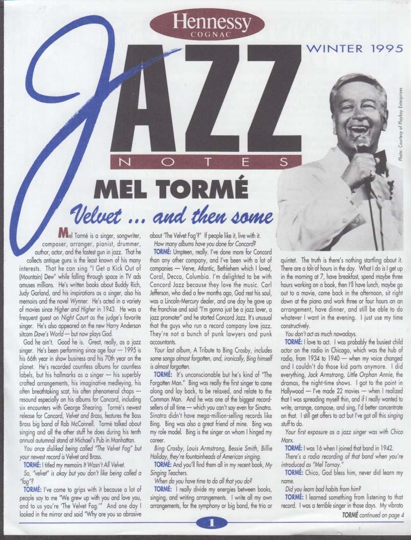 Hennessy Cognac JAZZ NOTES Winter 1995 Mel Torme Dianne Reeves